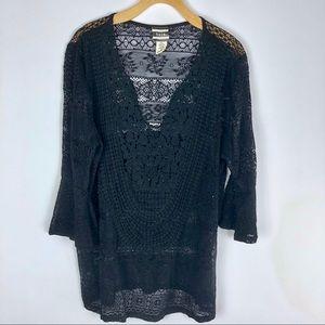 Rain Black Crochet Swimsuit Coverup